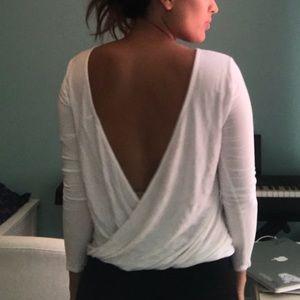 TOBI Backless Faux Wrap long sleeve reversible top